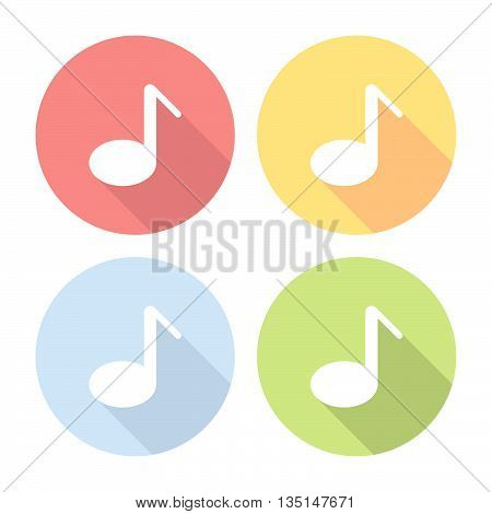 Music Note Flat Icons Set