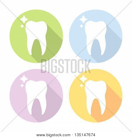 Molar Tooth Dental Flat Icons Set