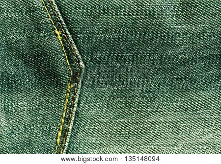 Green Jeans With Pocket Texture.