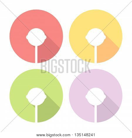 Lollipop Candy Flat Icons Set