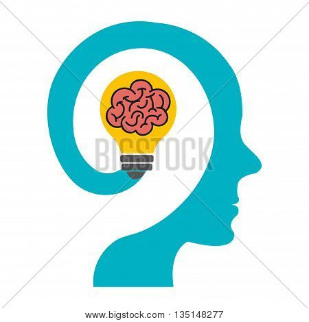 blue human head  with red brain and yellow light bulb icon  on side view over isolated background, vector illustration