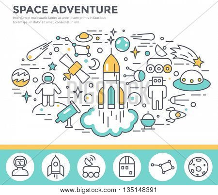 Space concept illustration, thin line flat design vector template