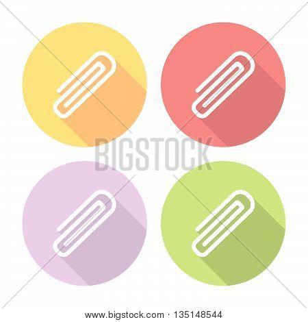 Paper Clip Flat Icons Set