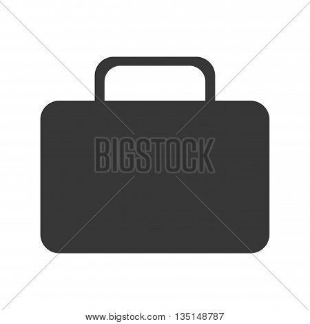 black suitcase icon front view over isolated background, vector illustration