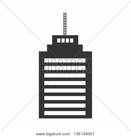black tall building with white windows over isolated background, construction city concept, vector illustration