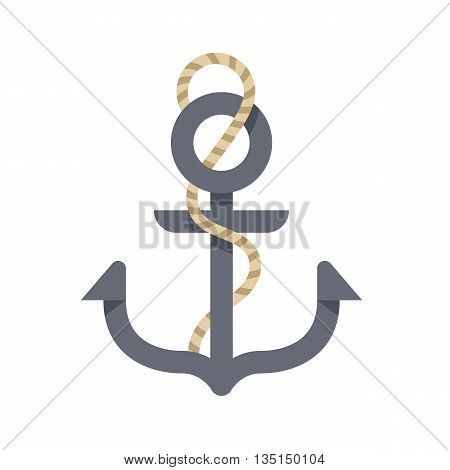 Vector illustration of stylized cartoon anchor with rope isolated on white