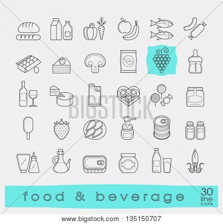 Collection of food and beverage icons. Set of line food stuffs. Vector illustration.