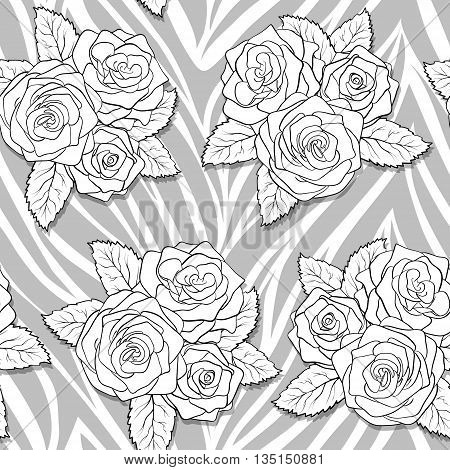 beautiful bouquets of roses on animal abstract print. Seamless pattern. Perfect for greeting cards and invitations of the wedding birthday mother's Day. Many similarities to the author's profile