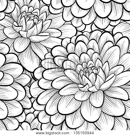 Beautiful seamless background with monochrome black and white flowers. Hand-drawn contour lines and strokes. . Perfect for greeting cards and invitations of the wedding birthday mother's Day