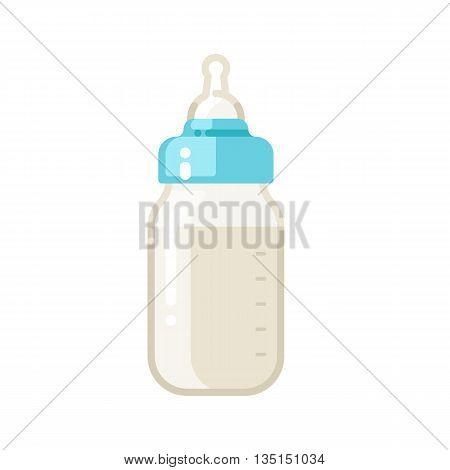 Baby milk bottle icon. Feeding bottle. Vector flat illustration isolated on white background.