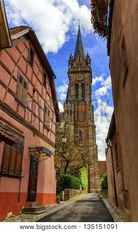 Church Saint-Etienne in Dambach-la-ville by day Alsace France