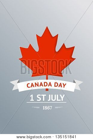 Happy Canada Day vector Illustration. 1st July celebration poster with maple leaf on gray background.