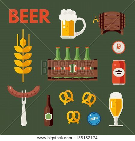 Beer bottle, glass and cups. Wooden barrel, wooden crate with bottles. Beer snacks. Set of vector beer icons, signs, symbols, design elements. Oktoberfest beer vector set. Flat vector illustration.