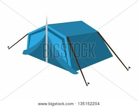 blue camping tent side view over isolated background, vector illustration