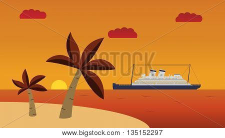 vector an illustration with the image of palm trees and the ship on a sunset.  summer sunset tropical landscape