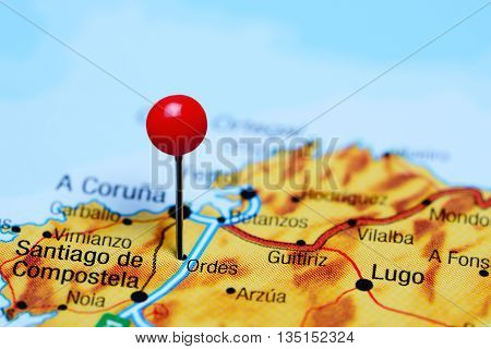 Ordes pinned on a map of Spain