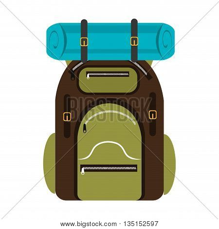 green and brown  camping backpack with blue on the top over isolated background, vector illustration