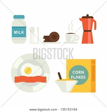 The set of breakfast vector icons. Milk, cookies, corn flakes, coffee and egg with bacon