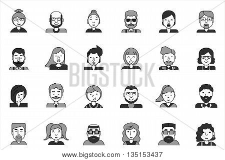 Line icons set with flat design elements of various business people profession, professional human occupation, basic characters career, stylish avatars. Modern vector pictogram collection concept