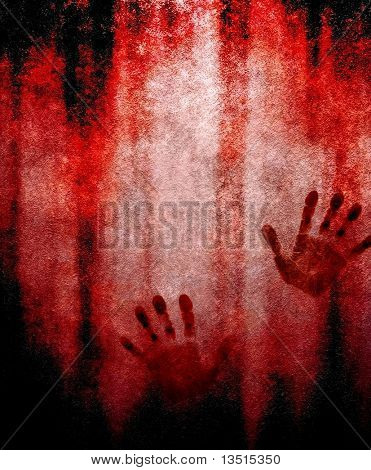 bloody hand print on wall