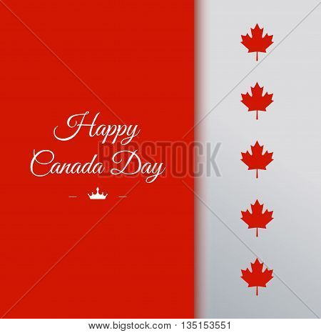 Happy Canada Day vector Illustration. 1st July celebration card with text on red background and maple leaves.