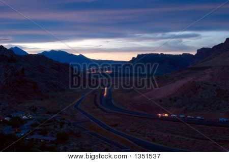 Moab At Sunrise With Highway
