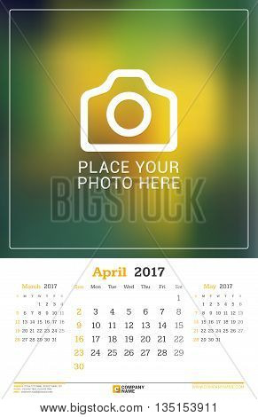 April 2017. Wall Monthly Calendar For 2017 Year. Vector Design Print Template With Place For Photo.