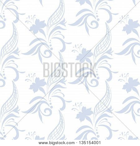 Vintage ornament pattern with blue flowers. Vector