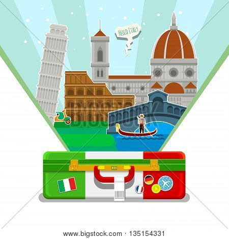 Concept of travel to Italy or studying Italian. Italian flag with landmarks in open suitcase. Excellent vacation in Italy. Cool trip to Italy. Fine travel to Italy. Time to travel. Tourism in Italy. Flat design, vector illustration