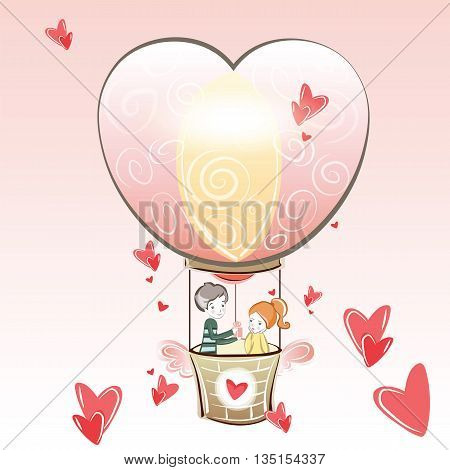 Valentine's Day card representing a boy gift to his girlfriend. Hot air balloon and hearts. Vector