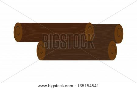 brown wooden logs over isolated background, nature concept, vector illustration