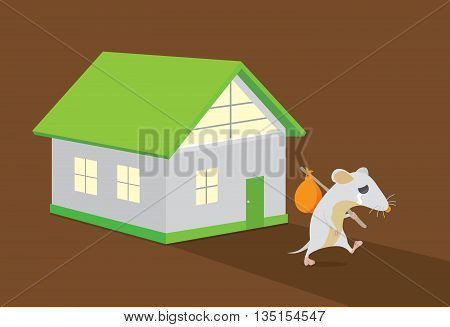 Rat crying and moving out of home. Rat crying. This illustration about keep rats away from House