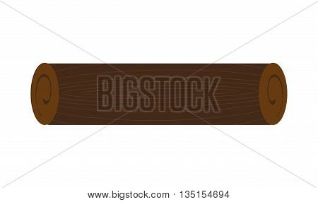 brown wooden log over isolated background, nature concept, vector illustration