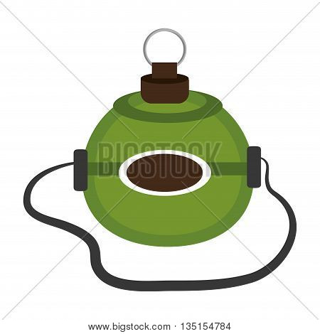 green lunch box over isolated background, vector illustration