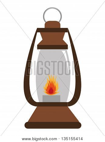 brown lantern with red flame over isolated background, vector illustration