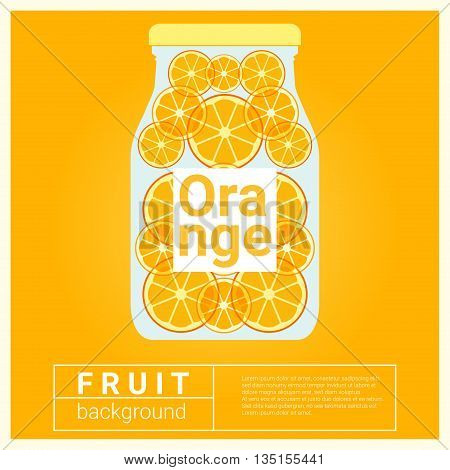 Infused water fruit recipe with orange, vector, illustration