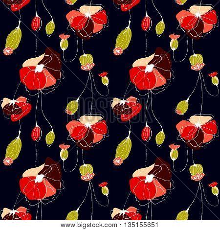 Poppy flower summer vector seamless pattern, black background