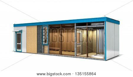 Large Container Building For Workers In A Cut With An Inner Filling 3D Render On White Backgraund