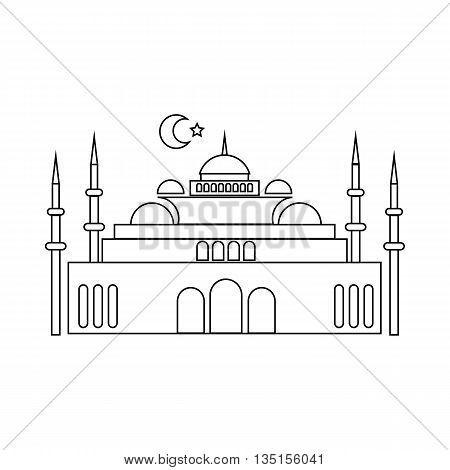 Mosque icon in outline style on a white background