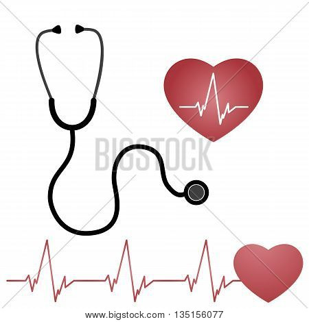 Stethoscope And Heart, Isolated On white Background, Vector Illustration, flat design
