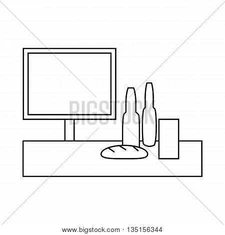 Cash desk in supermarket with groceries icon in outline style on a white background