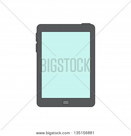 Tablet computer Icon. Isolated on white background. Black Tablet with blank screen.