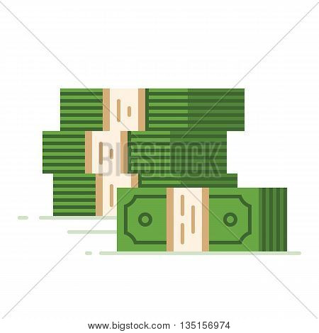 Stack of dollars. Big pile of cash. Flat vector illustration.