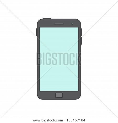 Vector Illustration of a mobile Phone icon. Isolated on White background. Black smart Phone over White. Blank Screen.