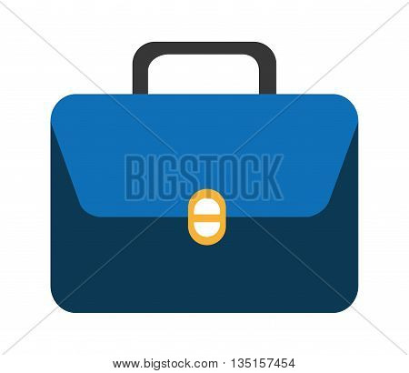 blue suitcase with yellow and white square over isolated background, vector illustration