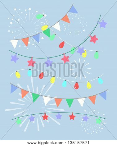 Colorful birthday and party vector decoration. Garland set.