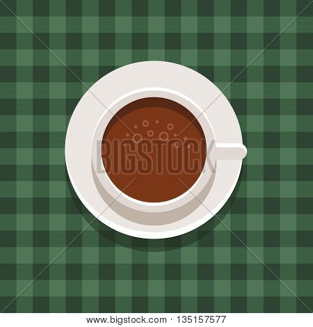 Cup of coffee icon. Top view. Morning drink. Coffee cup on chequered cloth. Vector flat illustration