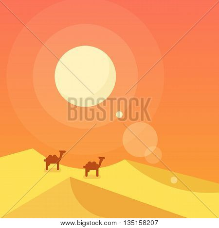 Caravan in a desert. Vector flat illustration.
