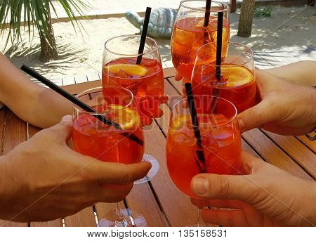 aperitifs with delicious cocktail in the beach
