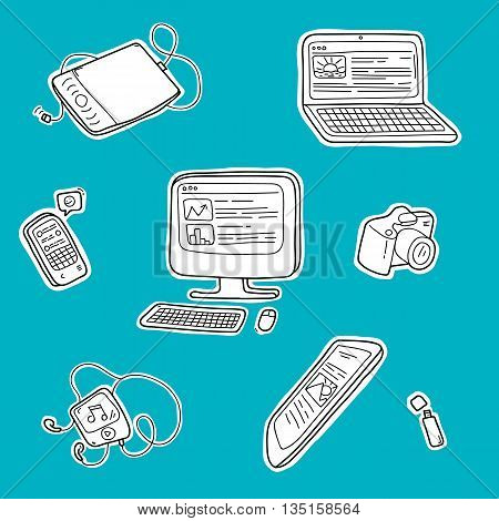 Electronic devices on blue background. A set of hand drawn doodles. Vector illustration.